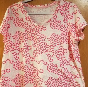 Pink White Animal Print 2 pieces pajamas PINK